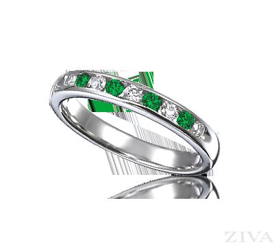 Channle Set Emerald Diamond Wedding Band Emerald Gemstone Rings