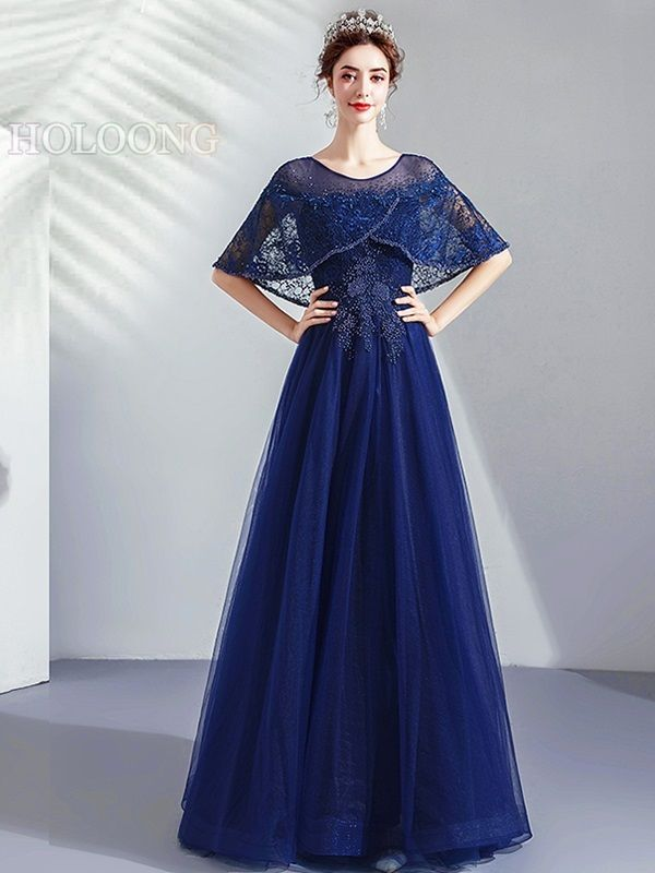Pearls NavyBlue Lace-Up Toastmaster Floor-Length Evening Dresses