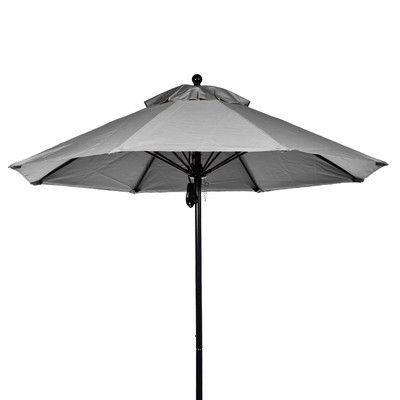 Frankford Umbrellas 7.5' Market Umbrella Fabric: Cadet Gray, Pole Type: Black Coated Aluminum Pole