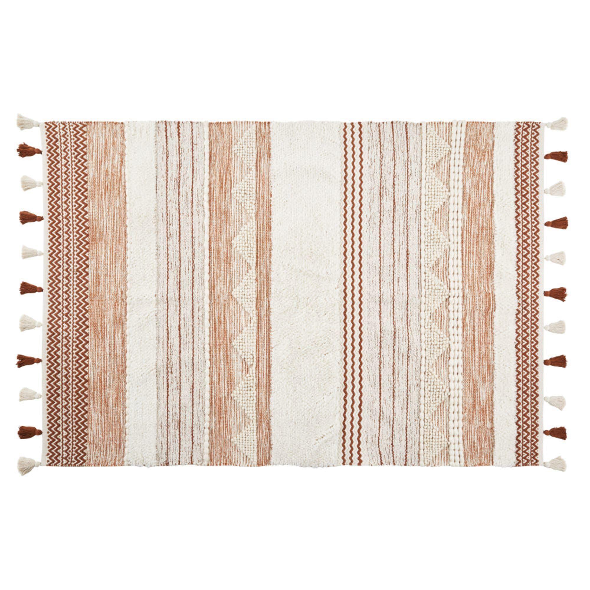 Alfombra de algodón y lana trenzada multicolor con pompones
