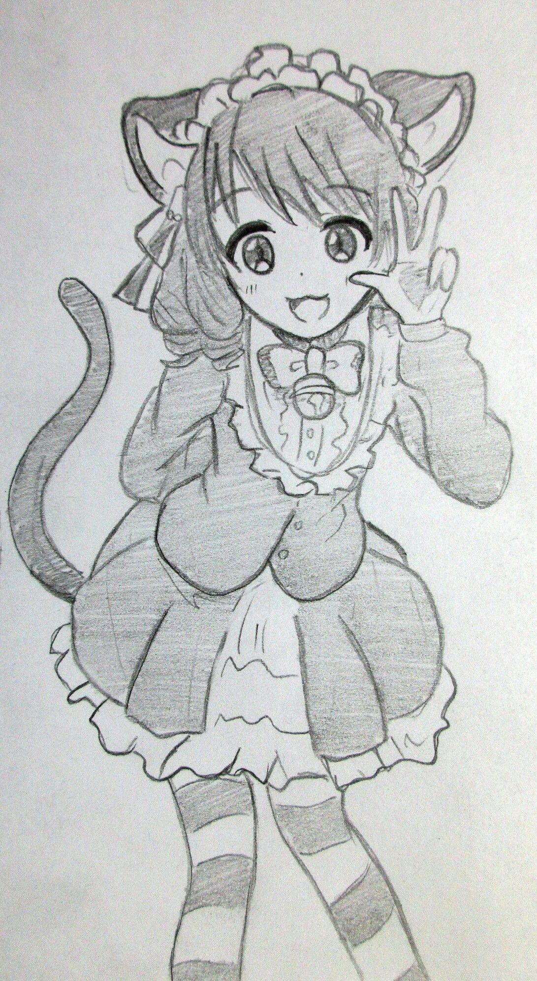 Drawing anime neko sketch