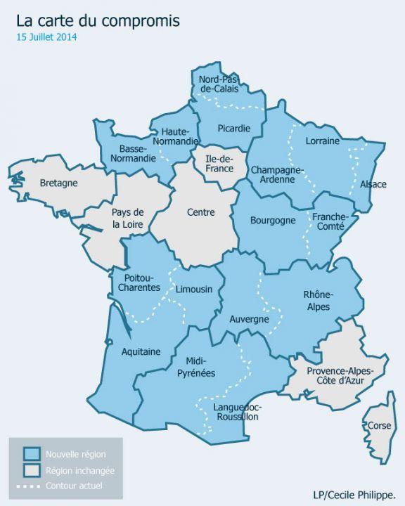 Réforme territoriale : la nouvelle carte à 13 régions adoptée à l'Assemblée | Carte des régions ...