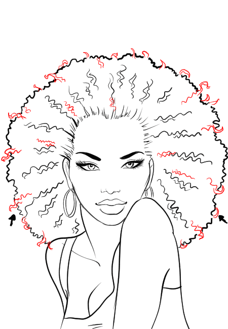 How to draw afro hair in fashion design sketches step by ...