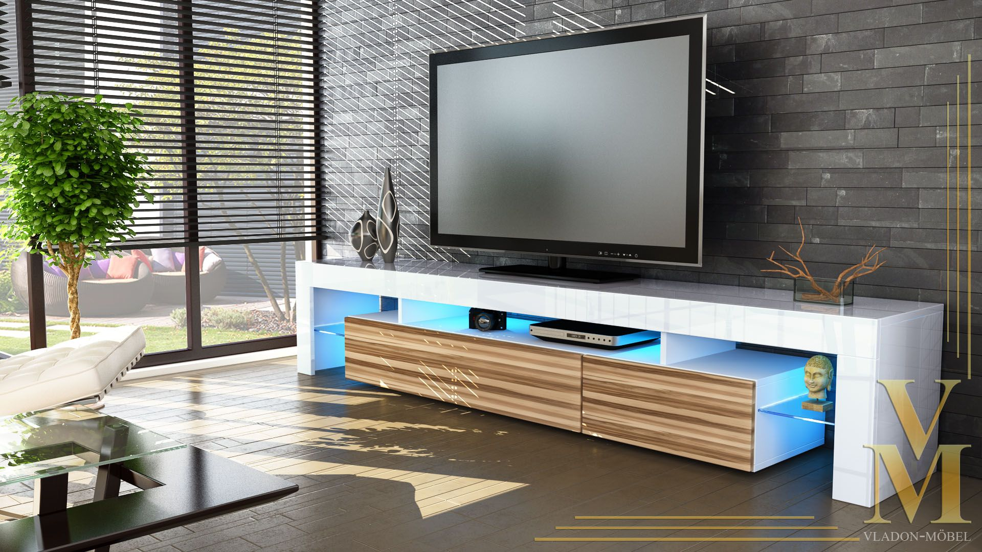 Tv Unit Cabinet Stand Lima V2 Led 2 Doors 189cm White High Gloss  # Vladon Meuble Tv