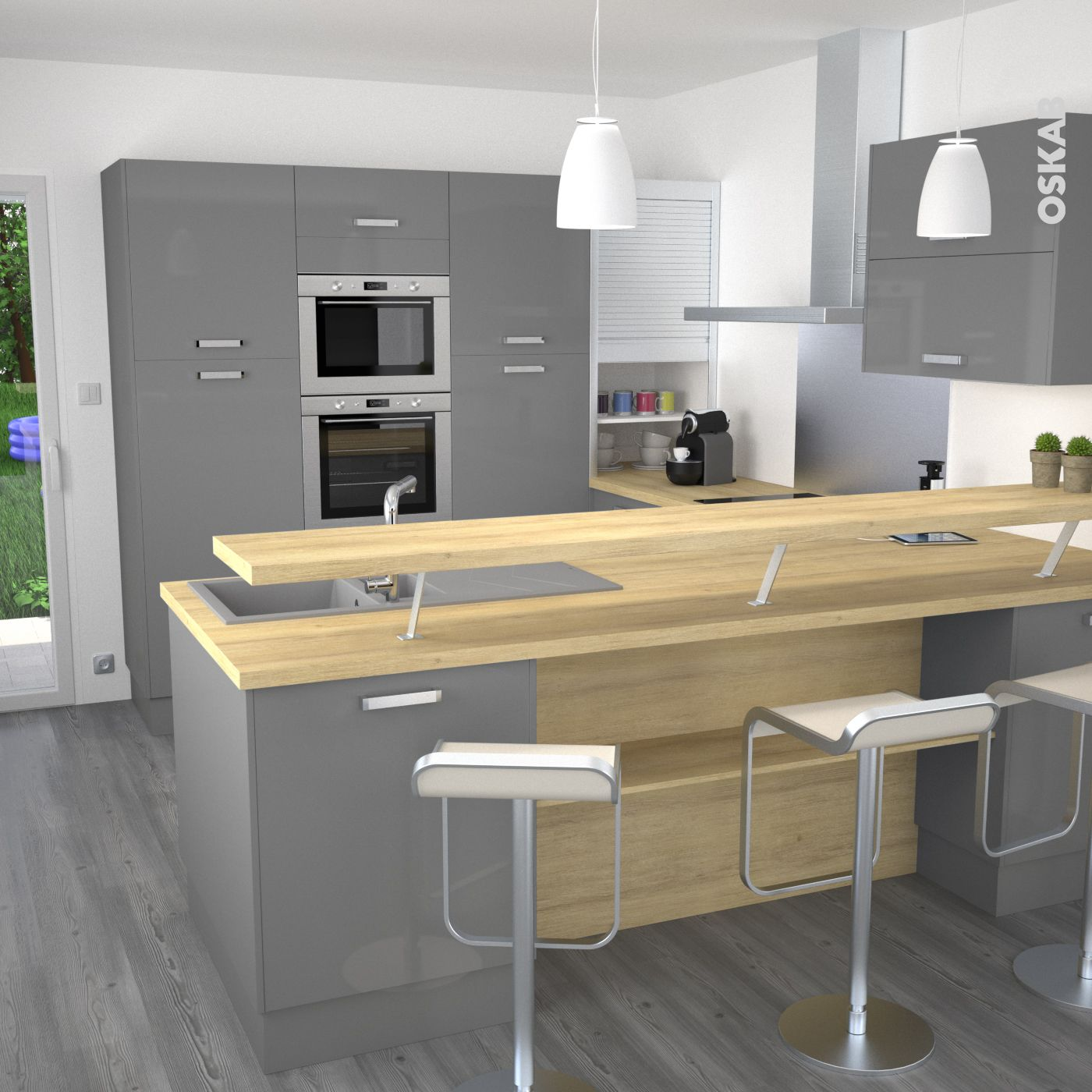 cuisine grise moderne faade stecia gris brillant design plan de travail and snacks - Cuisine En U Plan