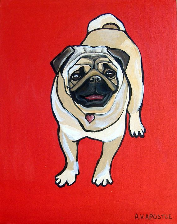 Pop Art Print Pug Dog Red Background Signed By By Avapostledesign