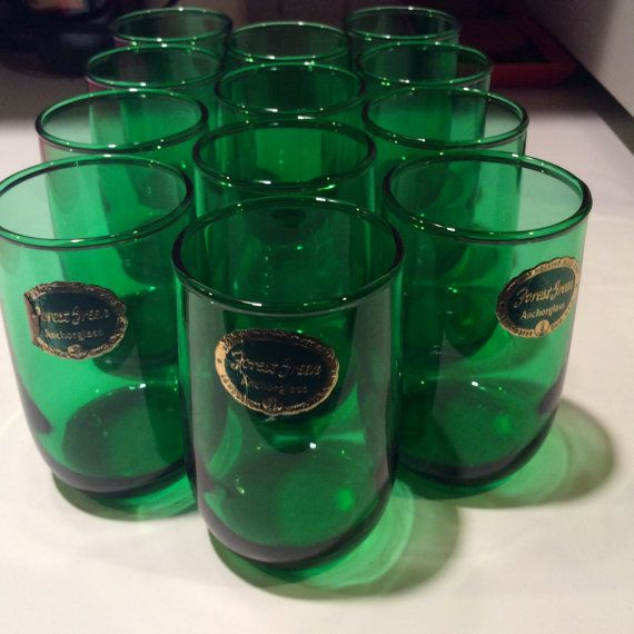 Forest Green Anchor Glass Set of Anchor Hocking by Trendsations