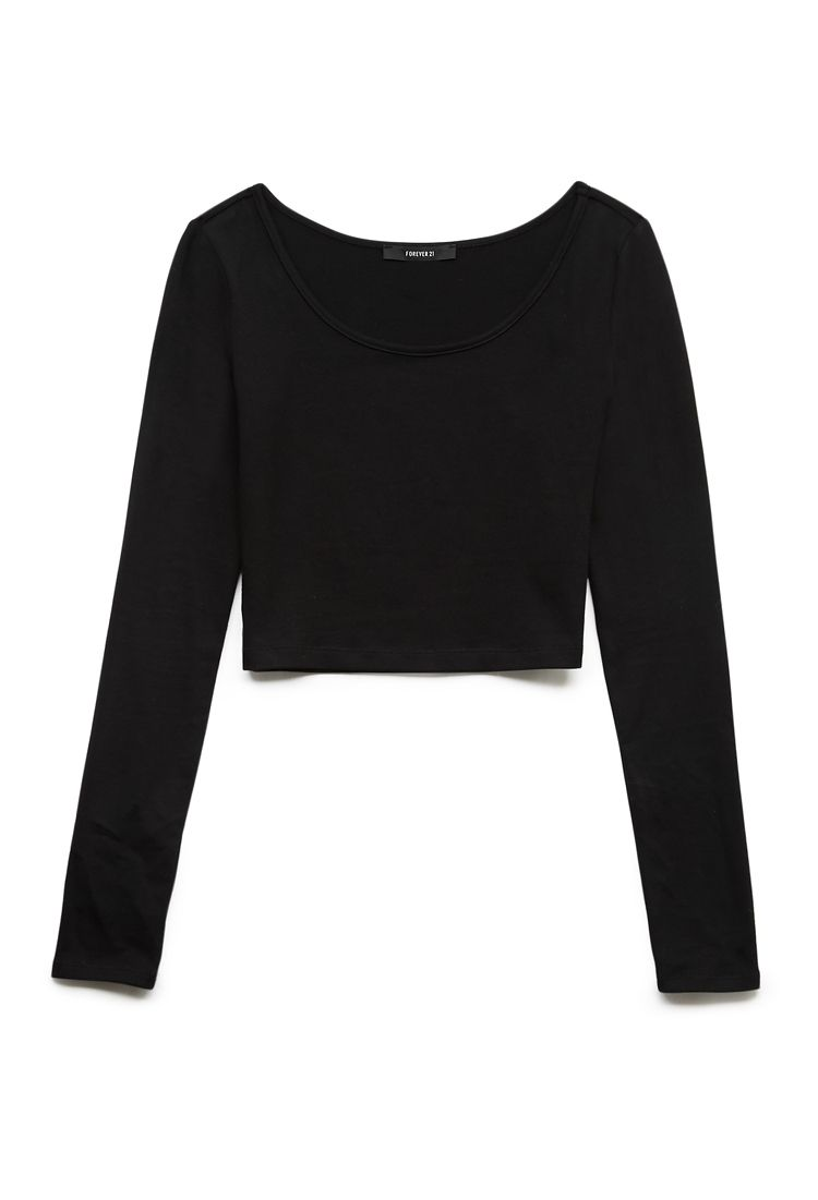 2d89b94bded170 Forever 21 - Black Basic Long Sleeve Crop Top