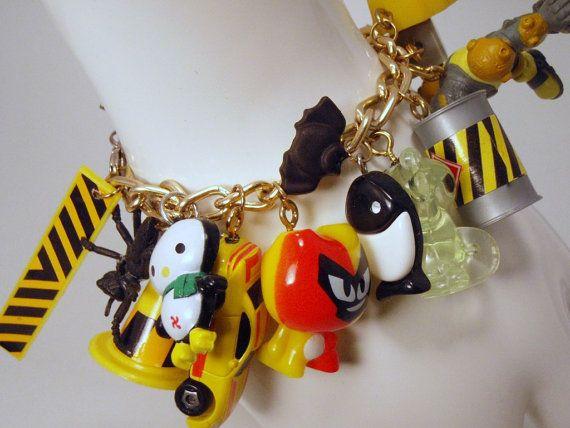 DANGER DANGER High Voltage Toy Box Charm Bracelett Neon Yellow and Black