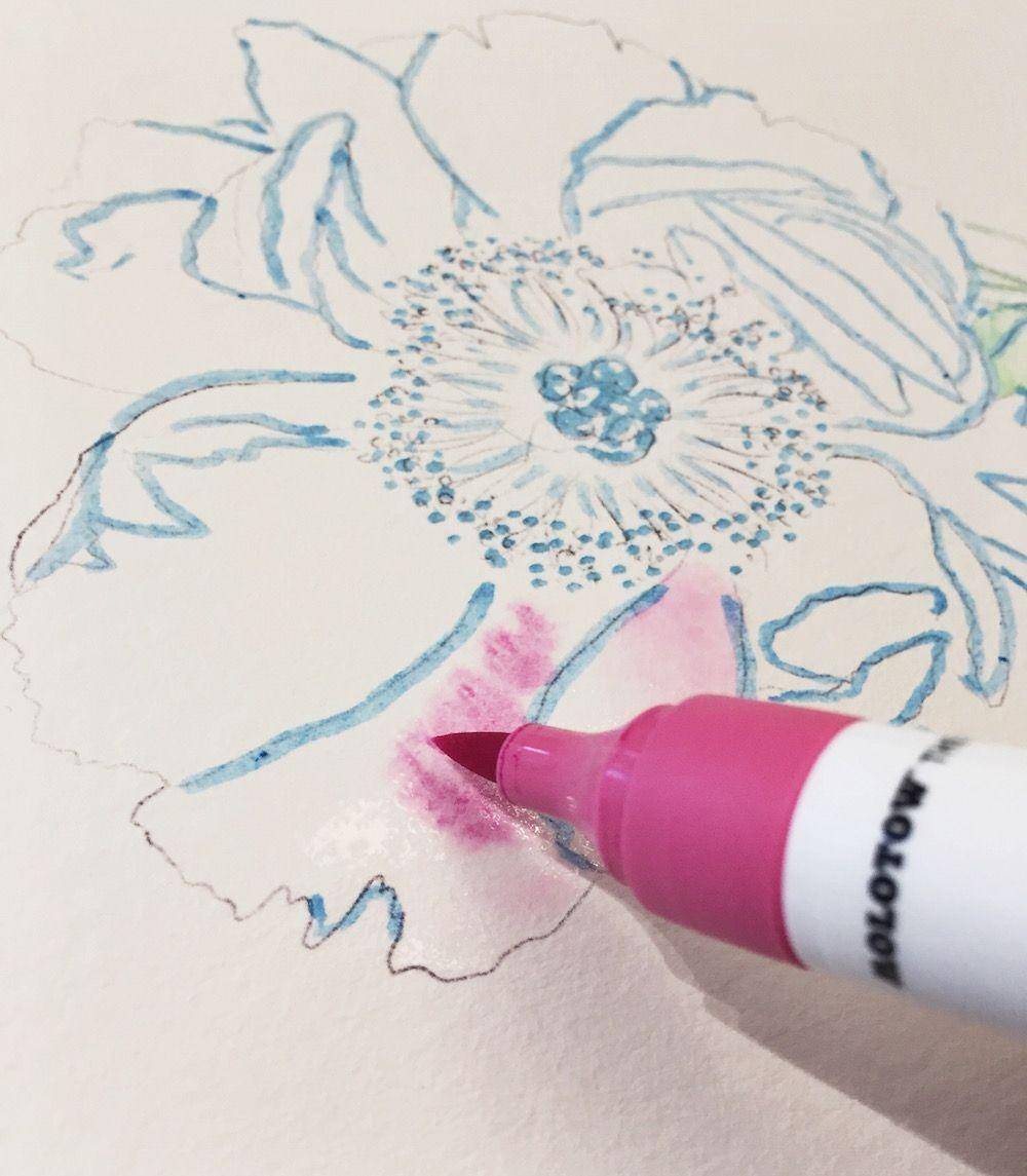 Aquarellieren Mit Wasserbasierten Brush Pens Aquarellfarben