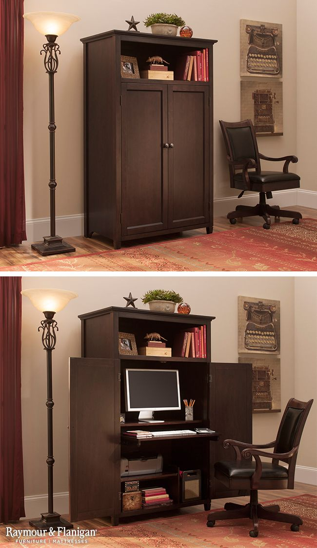 organize your multipurpose space with a computer armoire like this