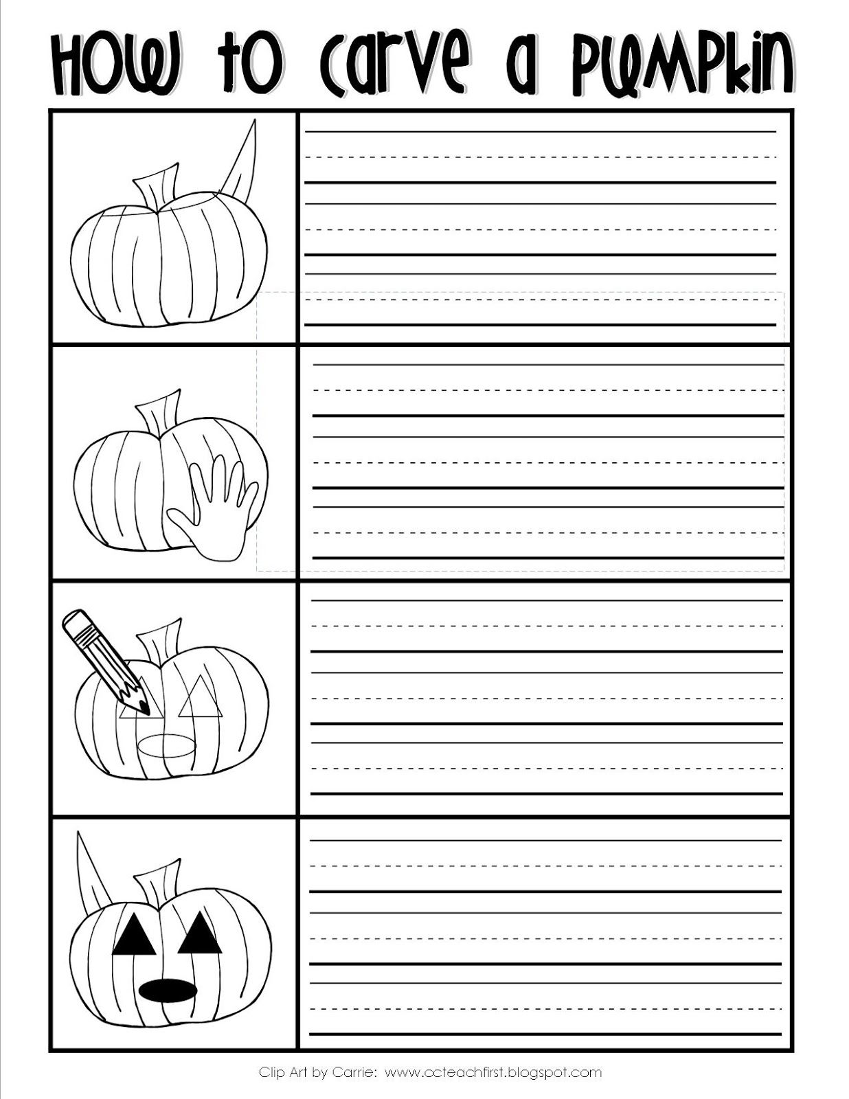 How to Carve a Pumpkin Writing Sheet FREEBIE by C&C Teach First: www ...