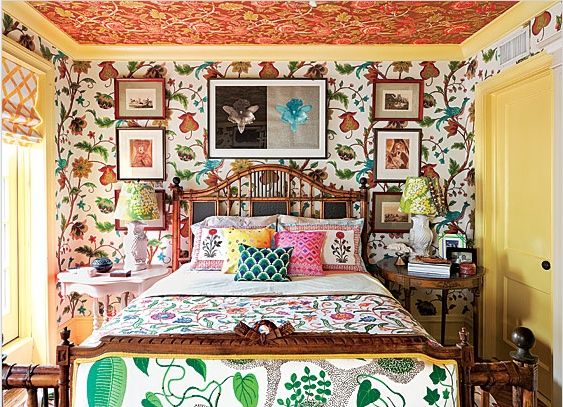 Explosion Of Pattern Painted Trim Ceiling Bedroom