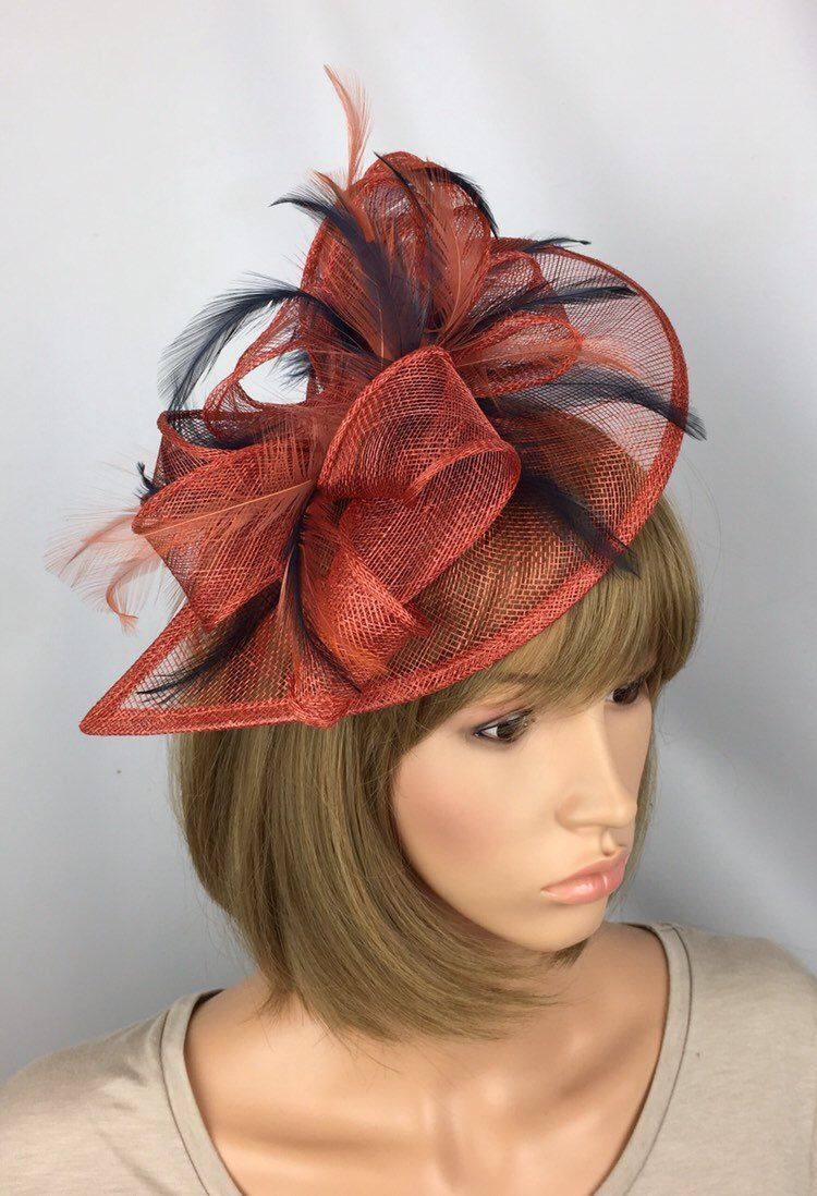 560d2be9b0327 Rusty Burnt Orange and Dark Navy Blue Fascinator Wedding Mother of the  bride Groom Ascot Races Ladies Day in 2019