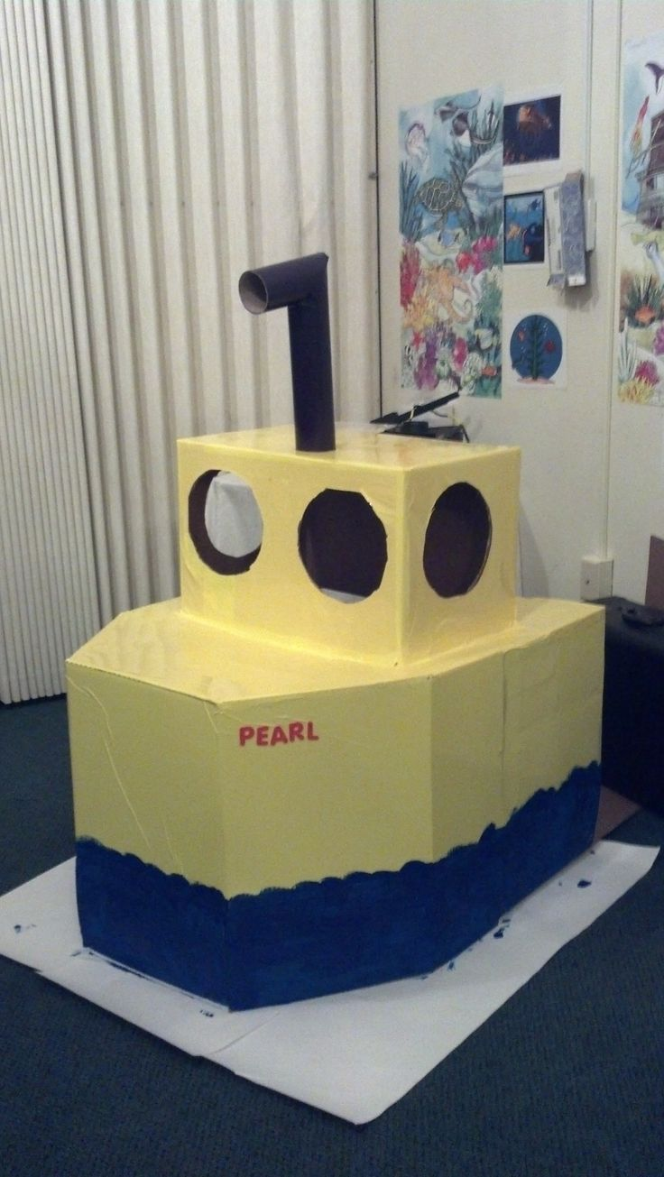 """Cardboard sub made from 3 cardboard boxes for my Sunday School class theme """"The Passion and the Parables"""". Underwater national park in Pennekamp Coral Reef State Park in Florida. My children loved it!"""