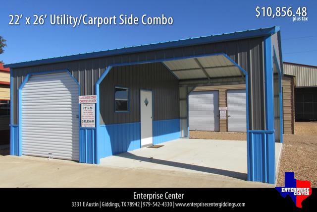 22' x 26' Utility/Carport Side Combo | Roll up doors ...