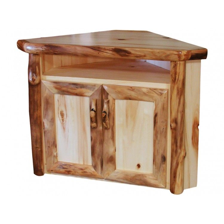 Beartooth Aspen Log Corner TV Stand | With Natural Aspen Logs And Flat  Drawer Fronts