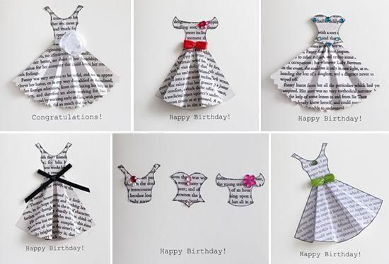 Book Print Dress Card Template Dress Card Origami Dress Cards Handmade