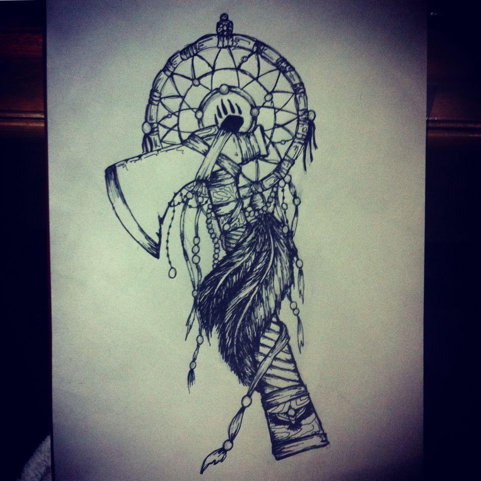 Tomahawk dreamcatcher tattoo design | tattoo | Pinterest ...