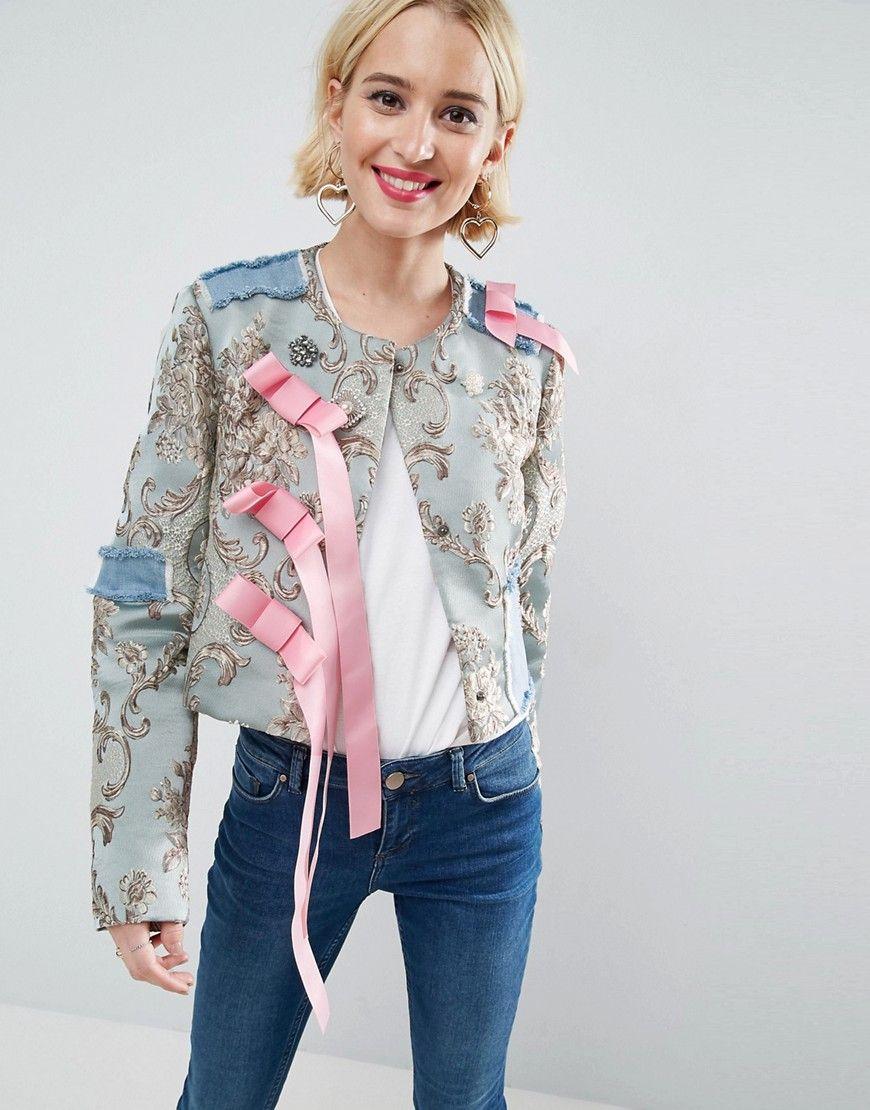 Jacket in Floral Jacquard Fashion, Jackets, Collarless