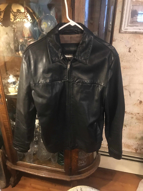 Mens Banana Republic Black Leather Jacket SIze M