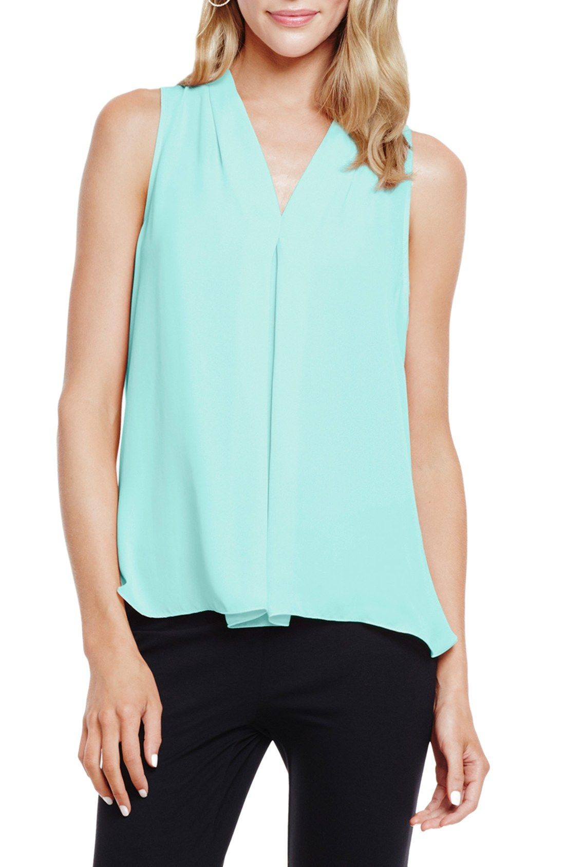 a36befb0076870 Vince Camuto Pleat Front V-Neck Blouse (Regular & Petite) - Work Top ...