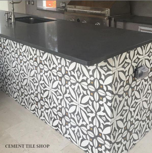 Entry Way Hall And 1 2 Bath Cement Tile Shop Encaustic Cement Tile Zebra Charcoal Outdoor Bbq Kitchen Cement Tile Outdoor Kitchen