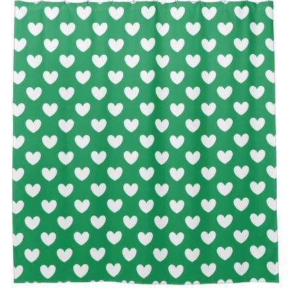 White Polka Hearts On Kelly Green Shower Curtain