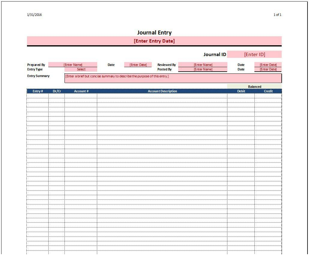 Journal Entry Template   Accounting Tools   Pinterest   Journals ...