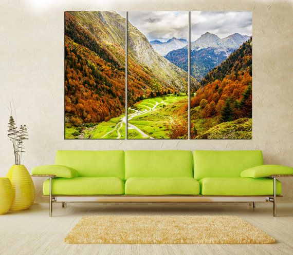 Nature autumn forest wall art canvas print, extra large wall art ...
