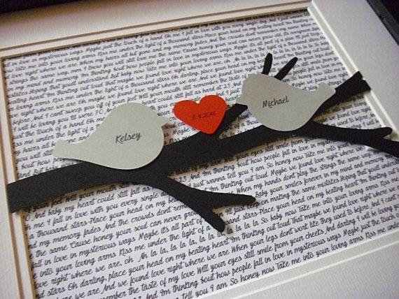 Personalized framed d paper tree love birds art wedding