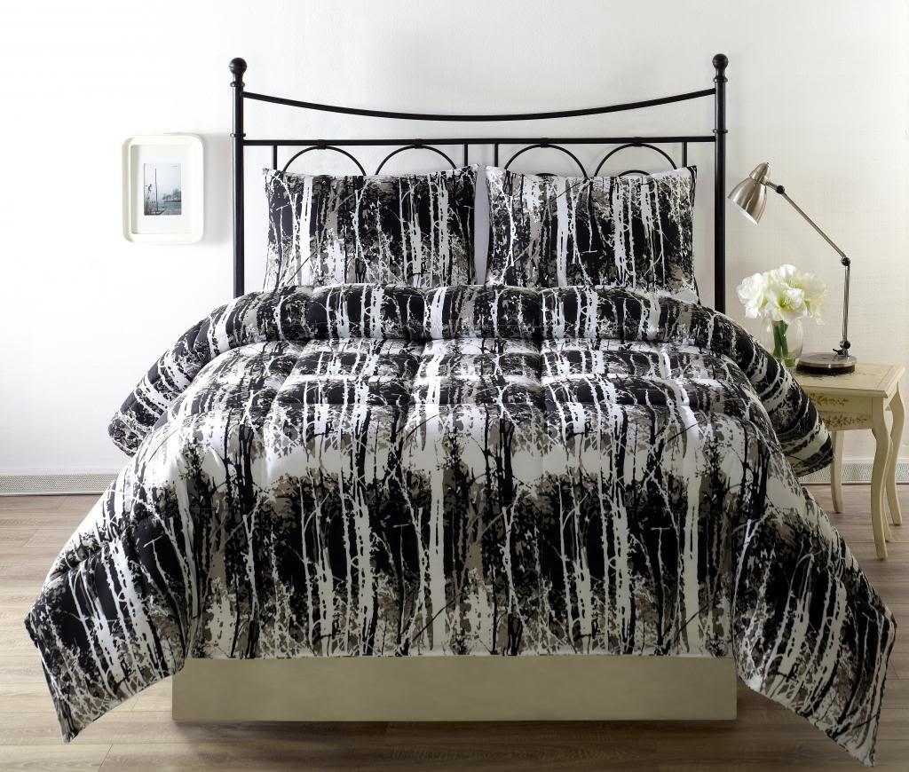 Silhuett 3pc Reversible Down Alternative Comforter Set camouflage black,white