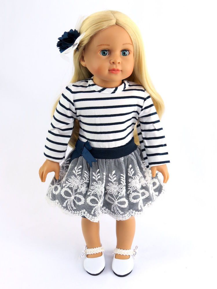 Navy and White Stripe Dress + Shoes Fits 18\