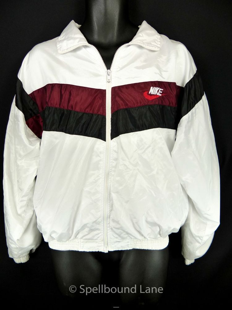 ec6065b459 Nike Vintage Track Windbreaker Jacket Small Satin White Red Tag Made USA   Nike  TracksuitsSweats