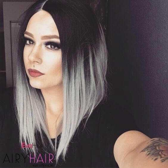 30+ Best Black & Grey Ombré Hair Extension Color I