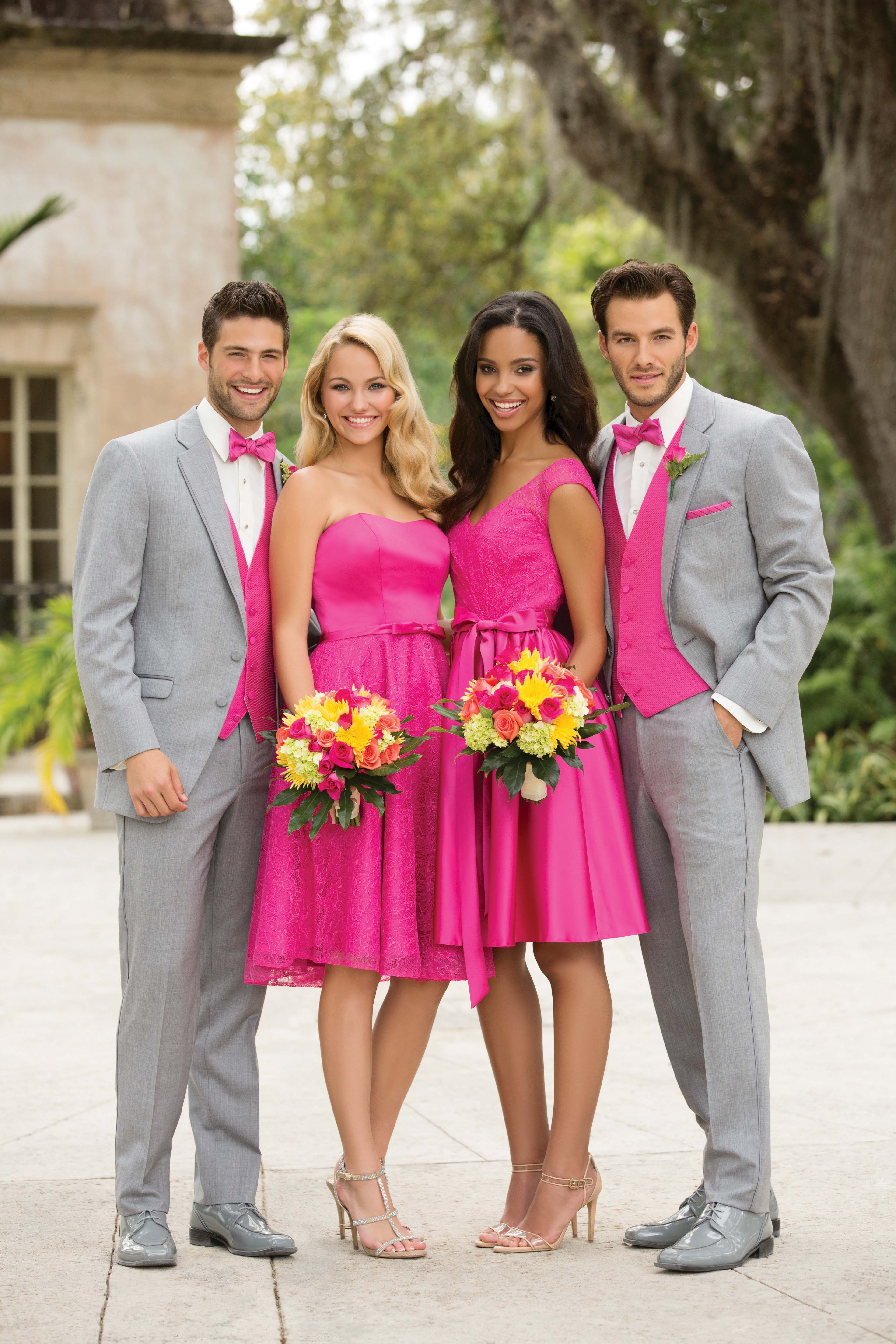 297e520eafa Pink for Bridesmaids and Light Grey Tuxedo with Pink Accessories for the  Groomsmen