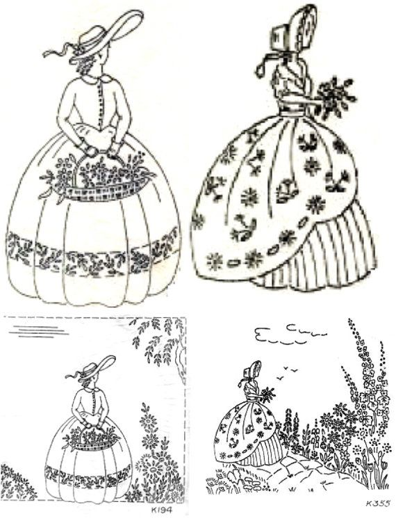 2 Crinoline Lady embroidery transfer Deighton 194 and 355 | Bordado ...