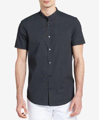CALVIN KLEIN Calvin Klein Men'S Classic-Fit Micro-Dot Print Band-Collar Shirt . #calvinklein #cloth #down shirts