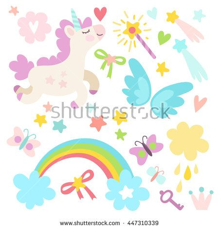 funny cute set of wonderful magical elements with unicorns and