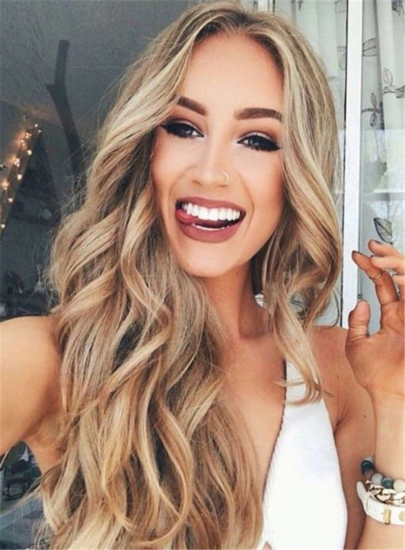 Sexy Hairstyle Sexy Long Wavy Middle Part Lace Front Human Hair Wigs 24 Inches