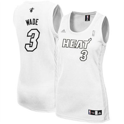 new style 34f9e 4e3c4 adidas Dwyane Wade Miami Heat Women's White Out Replica ...
