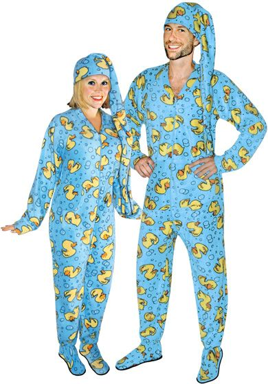 Rubber Ducks Footed Pajamas for Adults with Drop Seat and Long Night ... 0b4fa45af
