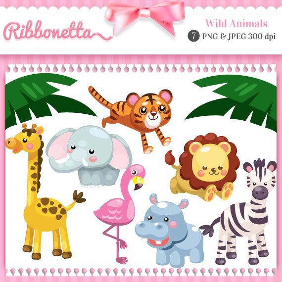Wild Jungle Animals Cute Kawaii Clipart Card Design Por Ribbonetta Kawaii Clipart Jungle Animals Kawaii