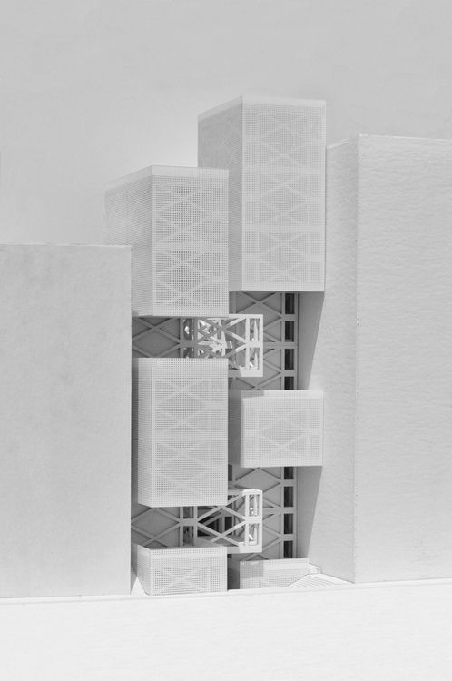 Vertical Streetscape Physical Model    1/8 Inch to 1 Foot scale model  Materials:  Three Ply Chipboard (Lasercammed)  Screen Printed Acrylic Sheet (for screen)  White Paint (lots of it)
