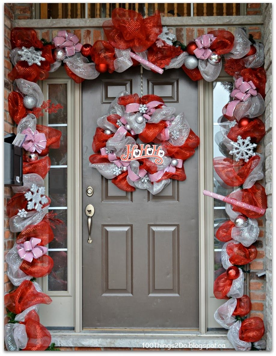 Christmas decoration, Christmas Front a Door, DIY Deco Mesh Wreath ...