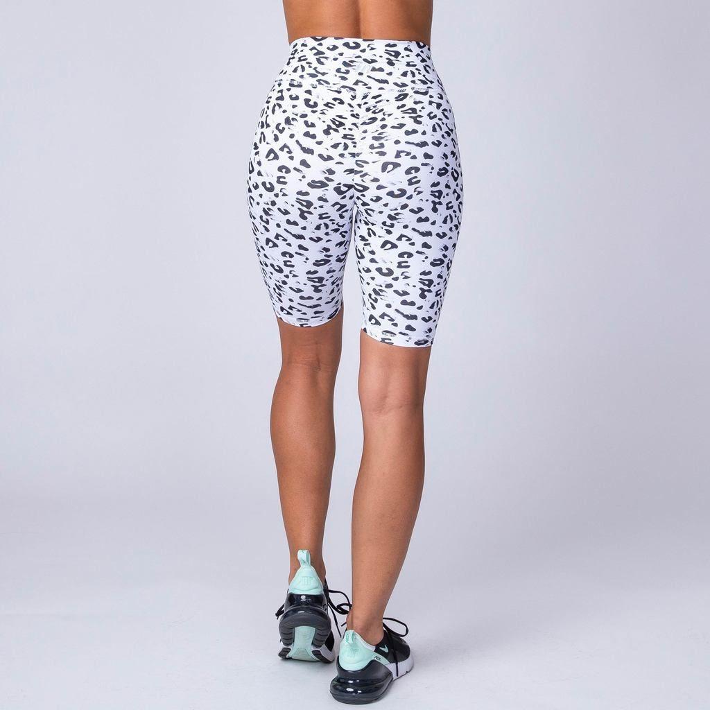 bf446e102e9ca Muscle Nation Referee Length High Waist Scrunch Shorts - Snow Leopard