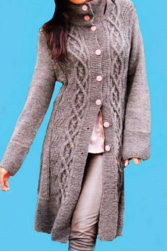 Hand Knit Long Coat Cable Pattern Alpaca Cloud And Merino Wool Blend