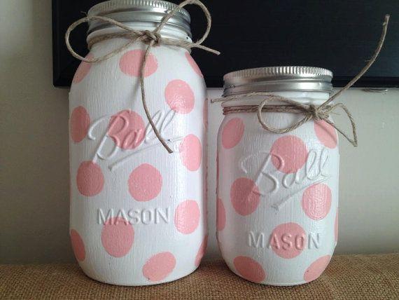 Baby Gift Jars : Polka dot colored mason jars nursery decor baby shower
