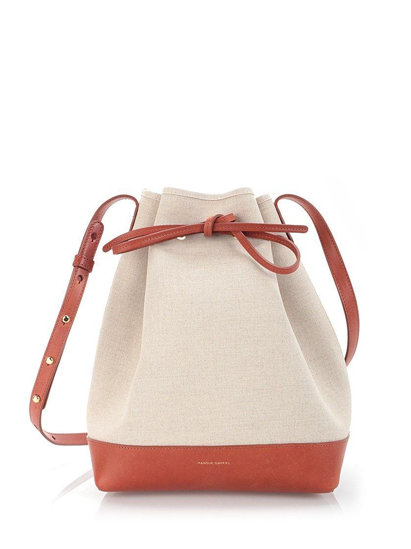 33f0015809c4 MANSUR GAVRIEL Canvas And Leather  Bucket  Bag.  mansurgavriel  bags  shoulder  bags  leather  canvas  bucket
