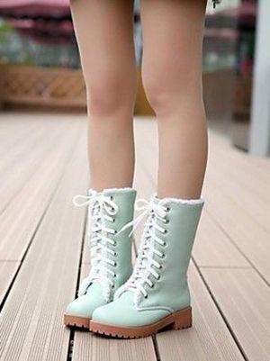 Mint Combat Boots